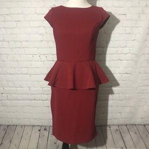 Burgundy Peplum Sheath Dress